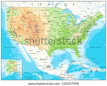 Road Map Stock Images RoyaltyFree Images Vectors Shutterstock - Physical map of usa and canada
