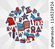 USA elections hand drawn sketch icon set in circle. Vector file layered for easy manipulation and custom coloring. - stock vector