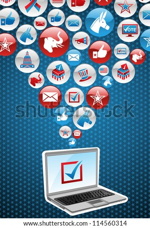 USA elections online voting: notebook with politics icons splash background. Vector file layered for easy manipulation and custom coloring. - stock vector