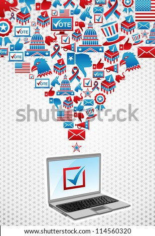 USA elections online voting: notebook with politics icons splash over white stars background. Vector file layered for easy manipulation and custom coloring.