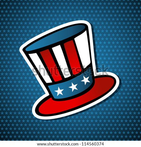 USA elections uncle Sam hat icon in sketch style over blue stars background. Vector file layered for easy manipulation and custom coloring. - stock vector
