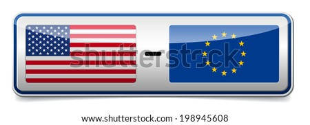 USA - EU sign board with shadow on white background