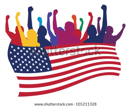 USA fans vector illustration - stock vector