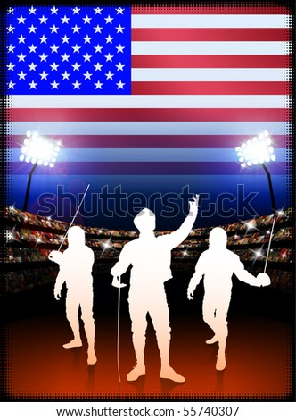 USA Fencing on Stadium Background with Flag Original Illustration