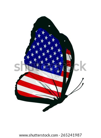 USA flag butterfly - vector