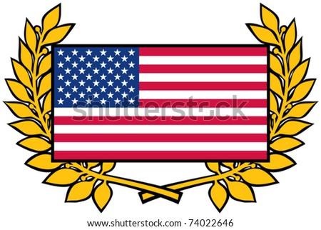 usa flag emblem - stock vector