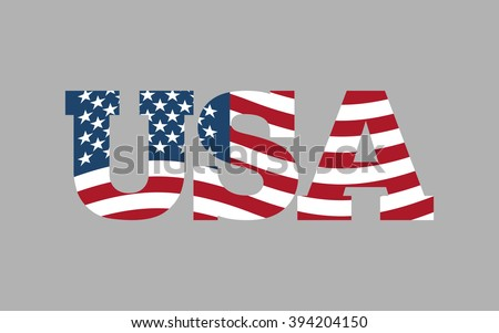 USA flag in text. American flag in letters. National emblem. Patriotic illustration - stock vector