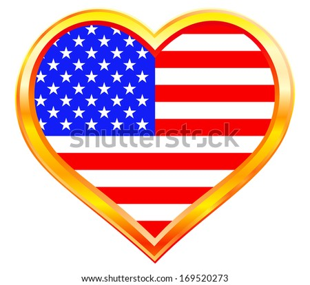 USA flag in the heart gold frame