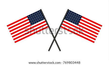 USA Flag in the original size on the sticks