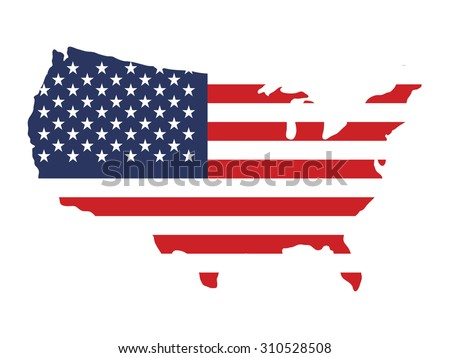 USA flag on American map