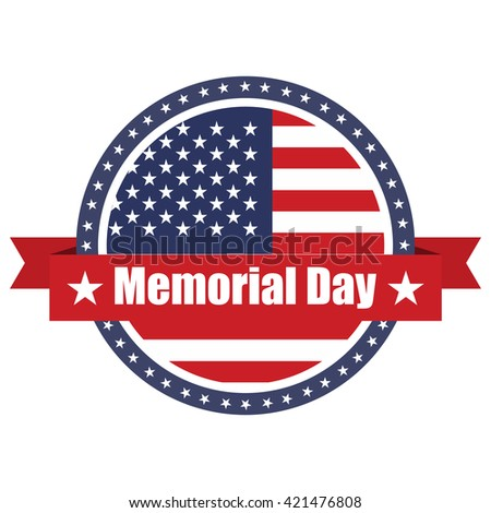 USA  flag on button stamp with ribbons Memorial Day - stock vector