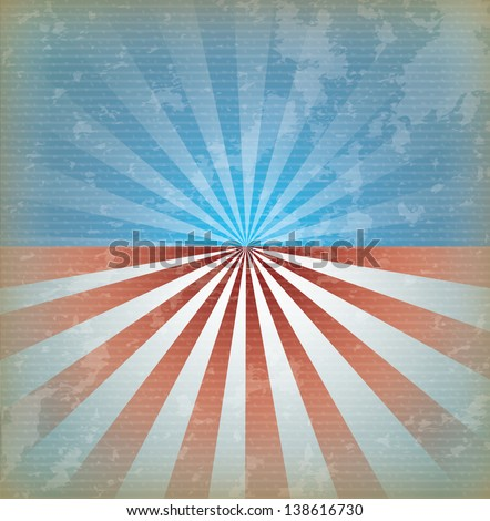 usa flag over vintage background vector illustration - stock vector