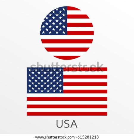 Usa Flag Set American National Symbol Stock Vector 2018 615281213