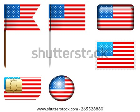 USA flag set on a white background.