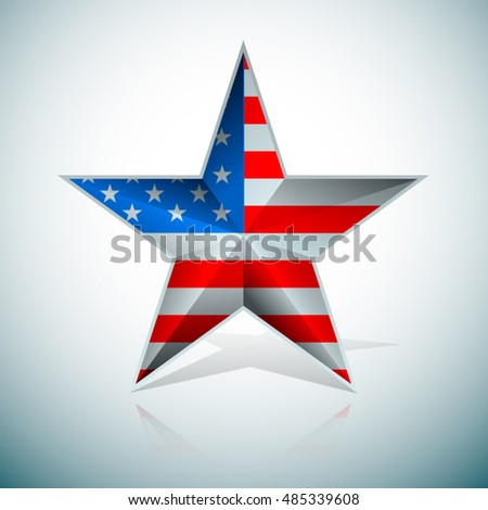 USA Flag Star 3D illustration