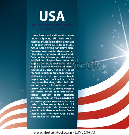USA flag stars and Text Abstract Background - stock vector