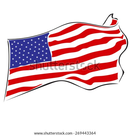 USA flag.Swinging in the wind flag of the United States