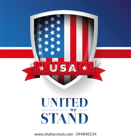 USA flag - United we stand poster or banner - stock vector