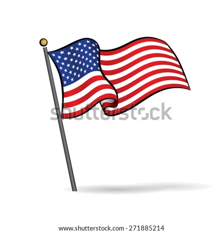 USA flag waving on the wind, Vector Illustration