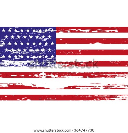 USA  flag with grunge on a white background. Vector illustration - stock vector