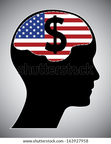 Usa flag with human head brain and dollar sign. Isolated easy to edit vector illustration. - stock vector
