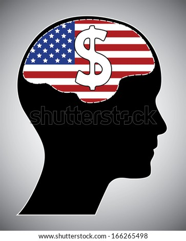 Usa flag with human head brain and dollar sign. Isolated easy to edit vector illustration with united states flag.  - stock vector