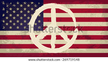 USA flag with peace sign - stock vector