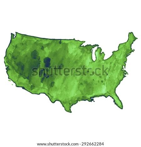 USA green watercolor vector map, US watercolor vector map, United States of America watercolor vector map - stock vector