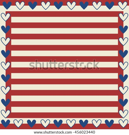 USA heart  with  Ornamental Design American Flag style