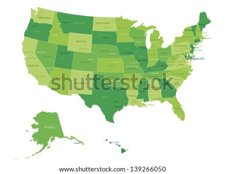 USA-highly detailed map.All elements are separated in editable layers clearly labeled. Vector - stock vector