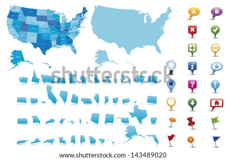 USA -highly detailed map.All elements are separated in editable layers clearly labeled. Vector - stock vector