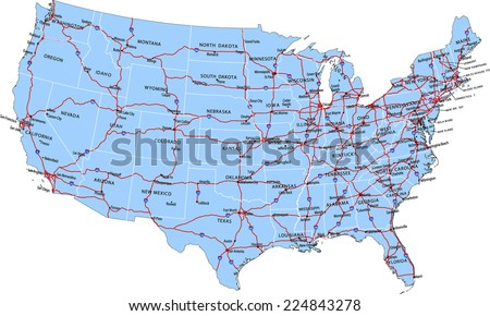 Vector Road Map Conterminous Usa Separable Stock Vector - Highway map of the usa