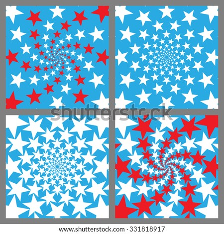 USA Holiday Background Set. Veterans Day. Independence Day. Memorial Day. Vector.