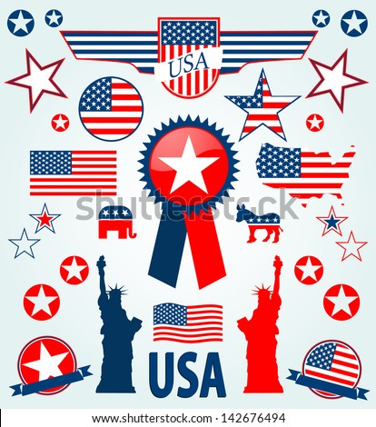 USA icons - stock vector