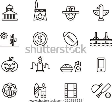 USA icons - stock vector