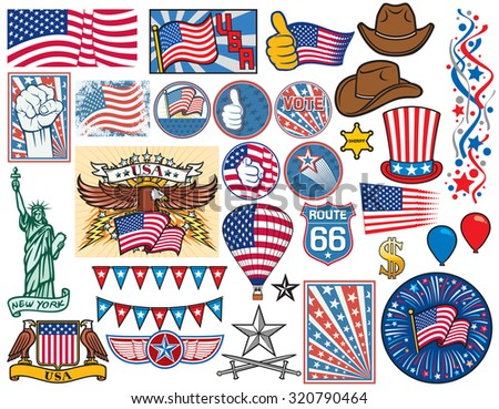 USA icons set (United States of America flag design, top hat, sheriff star, Statue of Liberty, fist, thumbs up, hot air balloon, firework, dollar sign, confetti, cowboy hat, election buttons) - stock vector