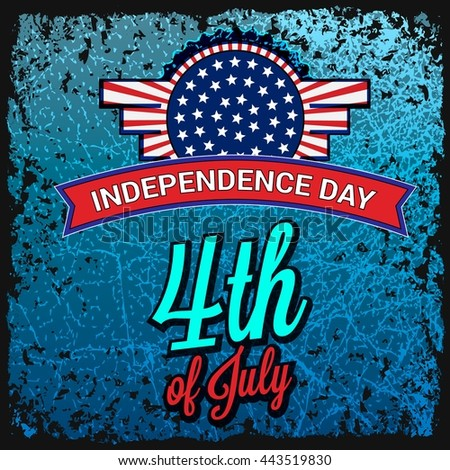 USA independence day card. Fourth of July. USA, Banner sign. Postcard