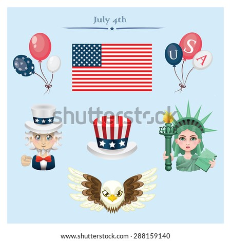 USA Independence Day elements - stock vector
