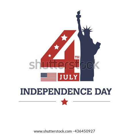 USA Independence Day Flag with Star isolated on white background. United Stated independence day greeting creative typography. sticker design for Independence Day. fourth of july american typography