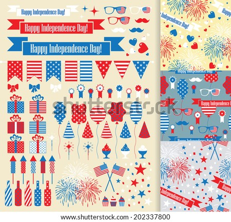 USA independence day fourth july. Vector set. - stock vector