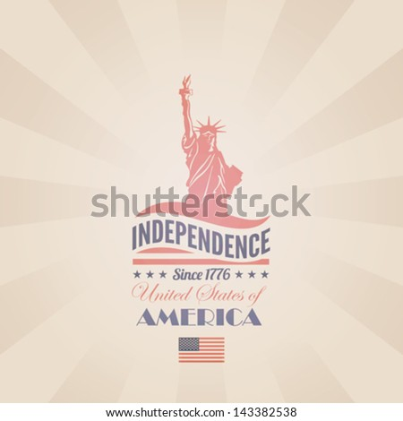 USA Independence day poster vector retro design template. 4th of July celebration. American National holiday. Concept. Editable. - stock vector