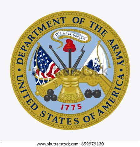 USA, June 13 - 2017:Vector of Department of the Army United States of America seal.