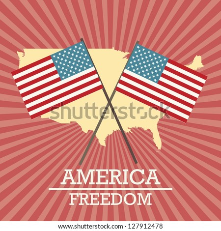 Usa label, with map and flags, on vintage background. Vector Illustration - stock vector