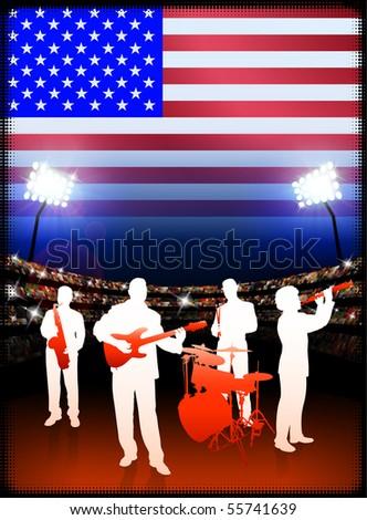 USA Live Music Band on Stadium Concert Background with Flag Original Illustration - stock vector