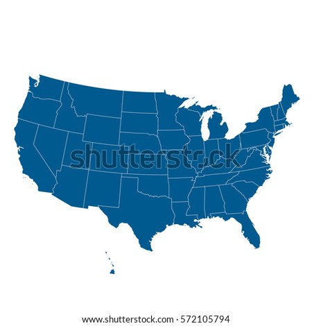 Blue Map United States Usa Stock Vector Shutterstock - Usa map
