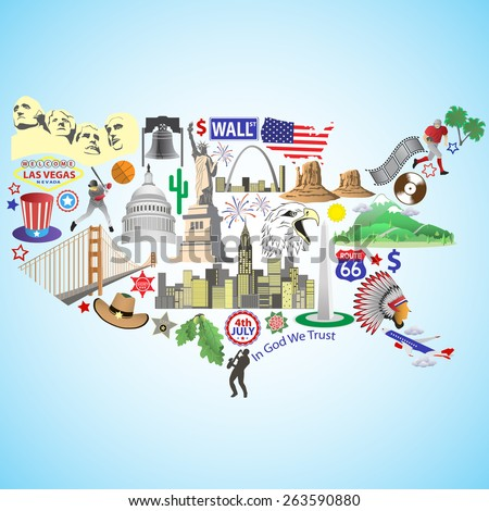 USA map. American map with color vector icons and symbols - stock vector