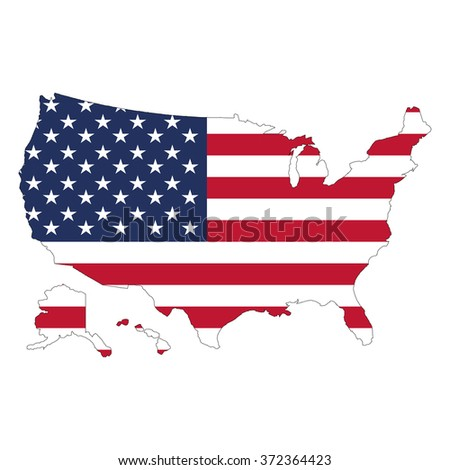 Usa Map Flag Against White Background Stock Vector - Us map all white red background