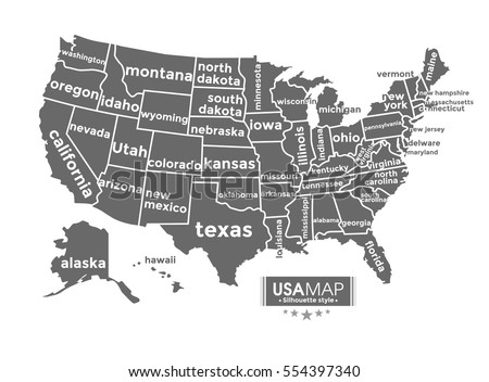 Usa Map Complete With Name Of State Black Color