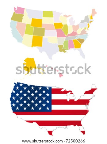 Usa map. Detailed map. Each is separate layer for easy editing - stock vector