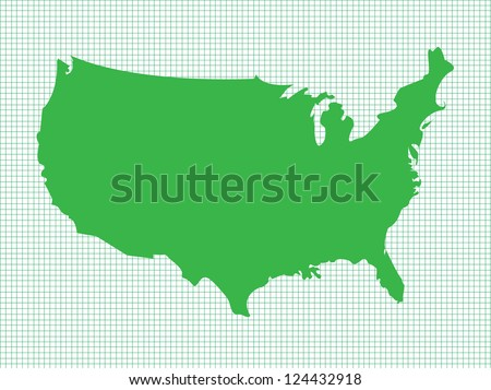 USA Map, Green on Graph Paper, Vector